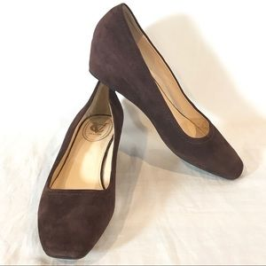 Vince Camuto Margarita Brown Suede Wedge Shoes 8.5
